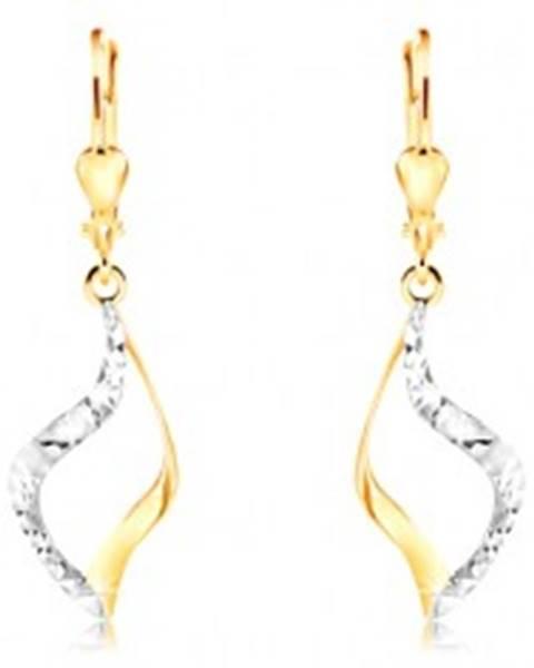 Náušnice zo 14K zlata - zvlnený obrys zrnka, dvojfarebné prevedenie