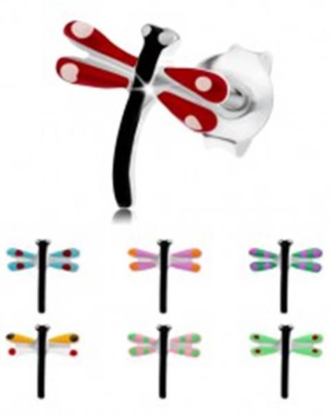 Náušnice zo striebra 925, čierna vážka s farebnými krídlami, glazúra - Farba: Červená