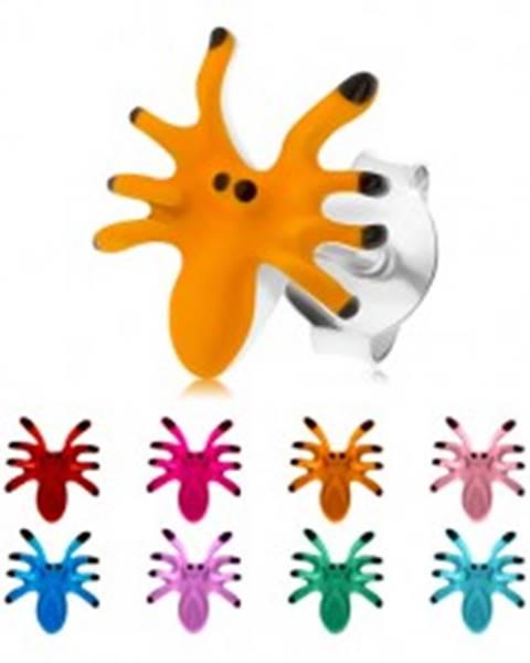 Náušnice zo striebra 925, farebný pavúčik s ôsmimi nohami, puzetky - Farba: Červená