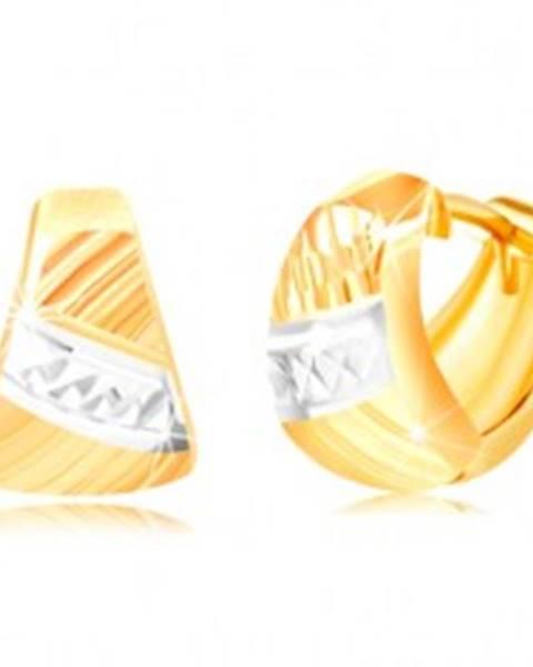 Náušnice zo zlata 585 - zaoblený trojuholník, šikmé ryhy, pás bieleho zlata