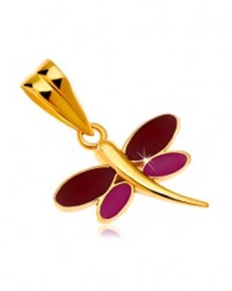 Prívesok v žltom 14K zlate - vážka s bordovou a fialovou glazúrou na krídlach