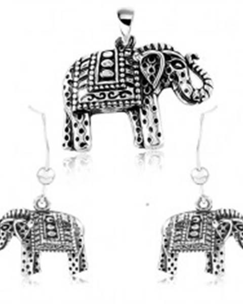 Strieborný 925 set, náušnice a prívesok, gravírovaný slon s čiernou patinou