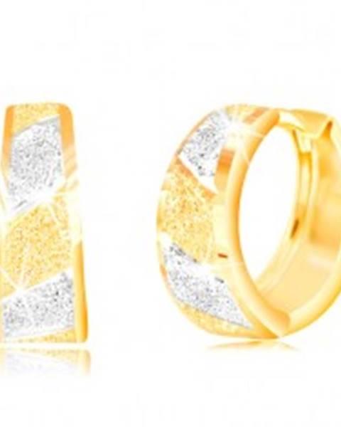 Zlaté 14K náušnice - trblietavé pieskované pásy v žltom a bielom zlate