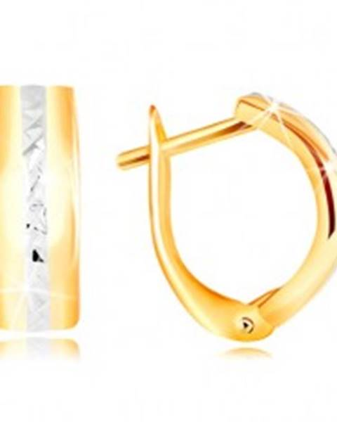 Zlaté náušnice 585 - brúsená línia z bieleho zlata na hladkom oblúku