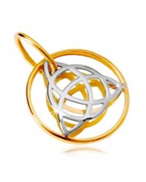 Zlatý 14K prívesok - dvojfarebný keltský uzol v tenkej obruči
