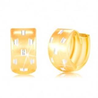 Kĺbové náušnice v 14K zlate - širší krúžok s drobnými zárezmi