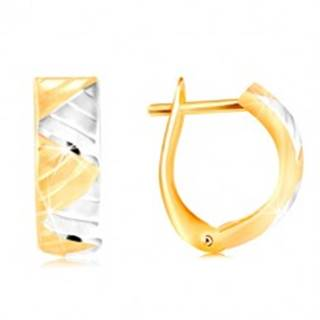 Náušnice v 14K zlate - oblúk s trojuholníkmi z bieleho a žltého zlata