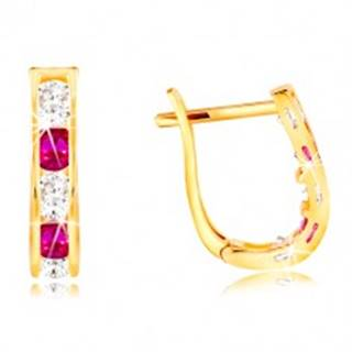 Náušnice v žltom 14K zlate - oblúčik zo zirkónov čírej a ružovej farby GG210.49