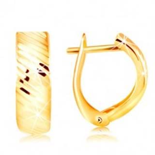 Náušnice v žltom 14K zlate - oblúk s ligotavými šikmými zárezmi