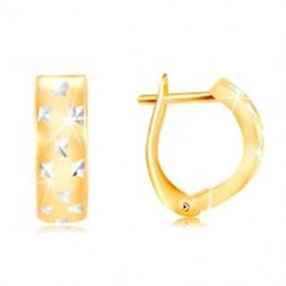 Náušnice zo zlata 585 - matný oblúk s drobnými ligotavými krížikmi