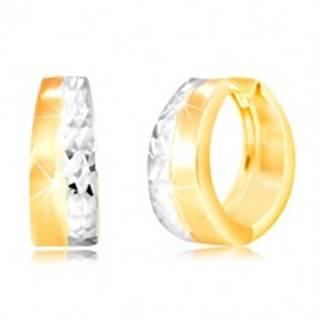 Okrúhle náušnice zo 14K zlata - matný pás žltej farby, brúsená línia z bieleho zlata GG217.31