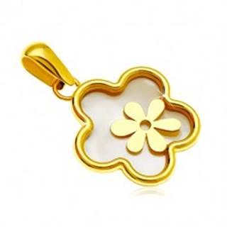 Prívesok zo žltého 14K zlata - kvet s výplňou z perlete a menším kvietkom