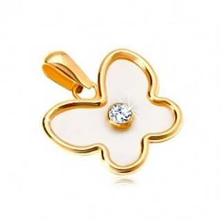 Prívesok zo žltého 14K zlata - motýľ s perleťou a čírym zirkónom v strede