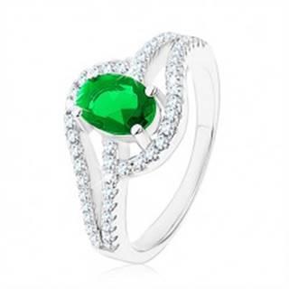 Prsteň zo striebra 925, prepojené obrysy kvapiek, zelený zirkón - Veľkosť: 49 mm