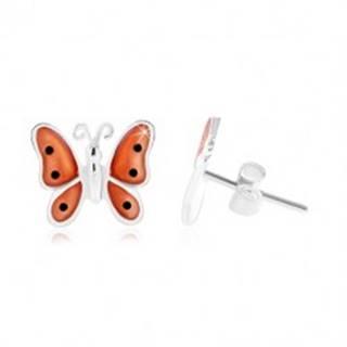 Strieborné 925 náušnice, motýľ s oranžovými glazúrovanými krídlami