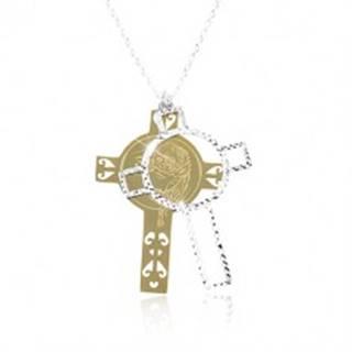 Strieborný 925 náhrdelník, vyrezávaný kríž zlatej a striebornej farby