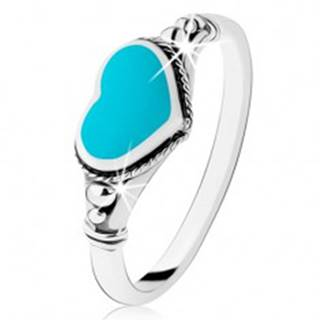Strieborný prsteň 925, patinovaný, srdiečko z tyrkysu, guličky HH5.16 - Veľkosť: 49 mm