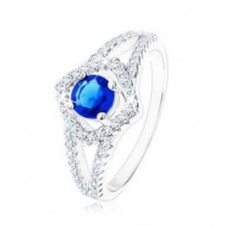 Strieborný prsteň 925, rozdvojené ramená, obrys štvorca, modrý zirkón - Veľkosť: 49 mm