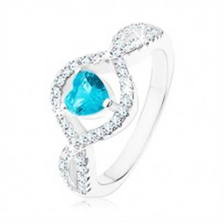 Strieborný prsteň 925, svetlomodré zirkónové srdce, vlnité číre ramená - Veľkosť: 49 mm