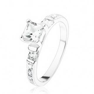 Zásnubný prsteň zo striebra 925, štvorcové číre zirkóniky, číra zirkónová línia - Veľkosť: 49 mm