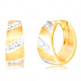 Zlaté náušnice 585 - matný rozšírený krúžok, ligotavé pásy z bieleho zlata