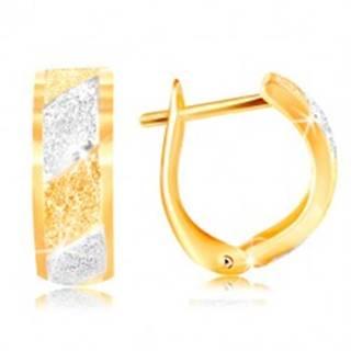 Zlaté náušnice 585 - trblietavé pieskované pásy v žltom a bielom zlate