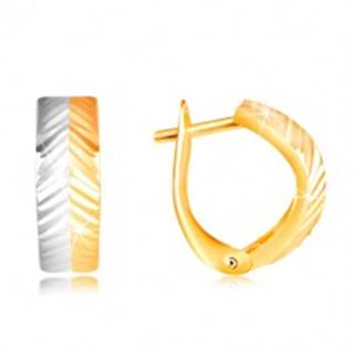 Zlaté náušnice 585 - vypuklý oblúk so šikmými zárezmi, žlté a biele zlato