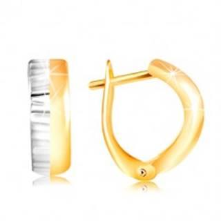 Zlaté náušnice 585 - vypuklý oblúk zo žltého a bieleho zlata, rovné zárezy