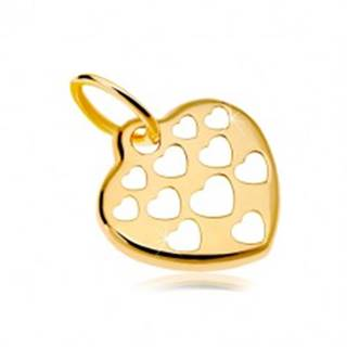 Zlatý prívesok 585 - lesklé srdce zdobené vyrezávanými srdiečkami