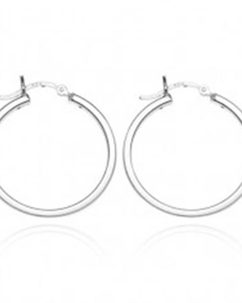 Náušnice kruhy zo striebra 925 - štyri lesklé hrany, 24 mm