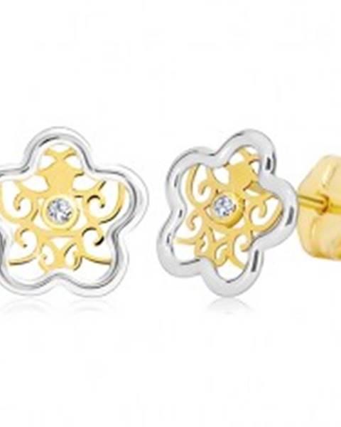 Náušnice zo zlata 585 - dvojfarebný kvietok s ornamentom a čírym zirkónom GG20.10