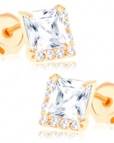 Náušnice zo žltého 9K zlata - číry štvorcový zirkón, drobné zirkóniky