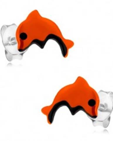 Náušnice zo striebra 925, skáčuci delfínik oranžovej farby, čierne detaily I23.16