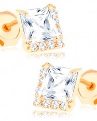 Náušnice zo žltého 9K zlata - číry štvorcový zirkón, drobné zirkóniky GG67.09