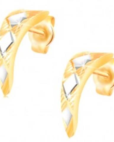 Zlaté 14K náušnice - lesklý zúžený oblúk s kosoštvorcami z bieleho zlata GG217.64