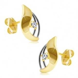 Diamantové náušnice v 14K zlate - žiarivý číry briliant v dvojfarebnej kvapke