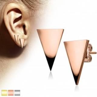 Náušnice z chirurgickej ocele, veľký lesklý trojuholník Z42.16 - Farba: Medená
