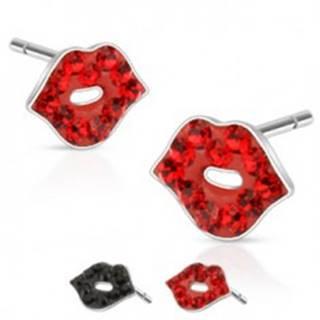 Náušnice z ocele - tvar pusinky s farebnými kamienkami Y55.8 - Farba: Červená