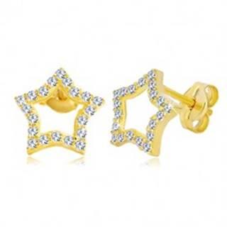 Náušnice zo žltého zlata 585 - kontúra hviezdy zdobená čírymi zirkónmi