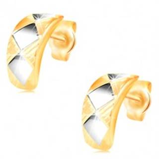 Zlaté náušnice 14K - lesklý oblúk s kosoštvorcami z bieleho zlata a zárezmi