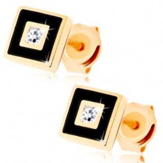 Zlaté náušnice 375 - štvorček zdobený čiernou glazúrou, číry zirkónik GG68.09