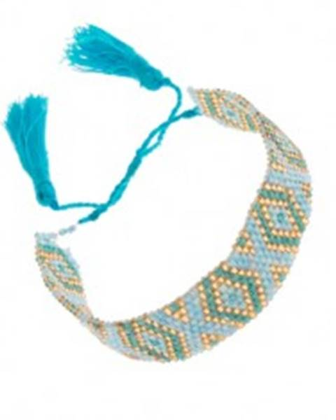 3204f75c5 Korálkový náramok s indiánskym motívom, modrá, tyrkysová a zlatá farba  SP88.06