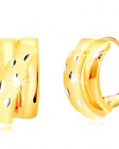 5ccf9909c7 Náušnice zo 14K zlata - lesklé polkruhy zdobené diagonálnym matným oblúkom  GG218.59