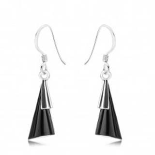 Náušnice - striebro 925, afroháčiky, vypuklé trojuholníky, čierny kameň SP89.27