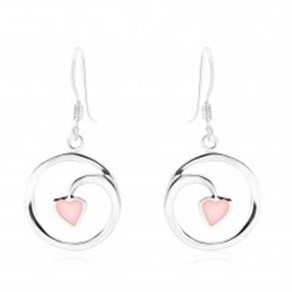 Náušnice, striebro 925, kontúra kruhu - špirála, srdiečko, ružová perleť