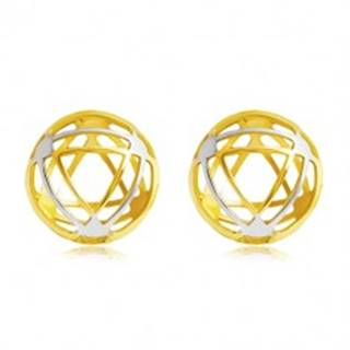 Náušnice v 14K zlate - kruh s tenkými obrysmi trojuholníkov