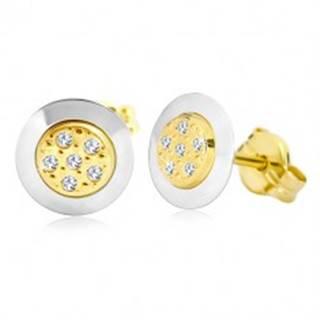 Náušnice zo 14K zlata - kruh s čírymi zirkónmi v strede, žlté a biele zlato