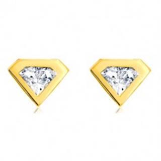 Náušnice zo zlata 585 - brúsený zirkón so zlatým lemom, motív diamantu