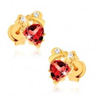 Náušnice zo žltého 14K zlata - červené srdce z granátu, mašlička, číre zirkóniky