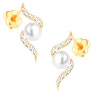 Náušnice zo žltého zlata 585 - diamantová špirála s perlou v strede